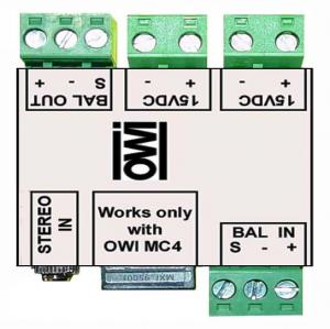 AMPDNGL: CAT5 ADAPTOR to convert Line level and Power over the Cat5 to and from the Amp Speaker