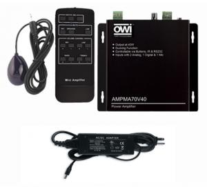 AMPMA70V40: Digital, 70 Volt, Mini Amplifier/Mic Mixer/ with Remote Control