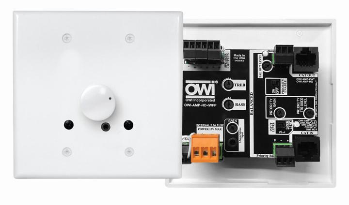 AMP-HD-2GBFP: Amplifier with CAT-5 Connector for Use in a UL-Listed, 2-Gang Box for Compatible OWI Speakers